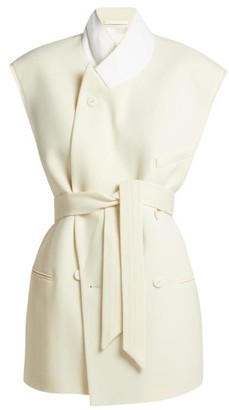 Raey Raw Edge Sleeveless Wool Twill Jacket - Womens - Ivory