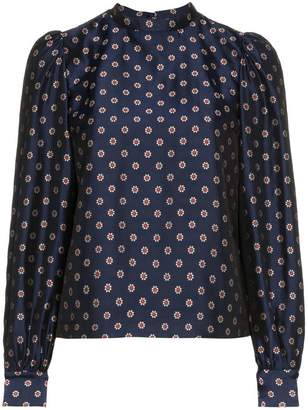 N. Duo Flower Print High Neck Blouse