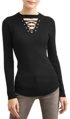 No Boundaries Juniors' Lace-Up Long Sleeve Rib Knit T-Shirt
