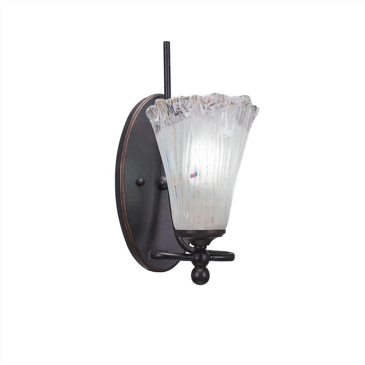 Cambridge Silversmiths Cambridge 1-Light Dark Granite Sconce with Fluted Frosted Ribbed Glass