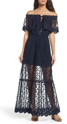 Women's Adelyn Rae Josephine Off The Shoulder Lace Maxi Dress $138 thestylecure.com