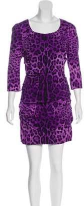 Dolce & Gabbana Leopard Print Mini Dress Purple Leopard Print Mini Dress