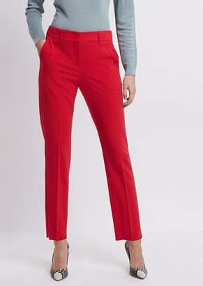 Emporio Armani Cigarette Pants In Plain-Woven Crepe