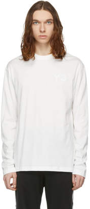 Y-3 Y 3 White Logo Long Sleeve T-Shirt
