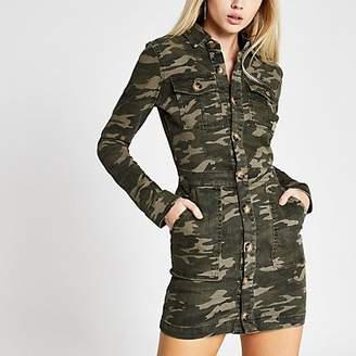 River Island Khaki camo fitted denim utility shirt dress