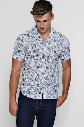boohoo Paisley Print Short Sleeve Revere Shirt