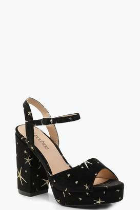 boohoo Glitter Velvet Star Platform Heels