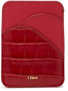Chloé Walden Crocodile Embossed Leather Cardholder - Womens - Red