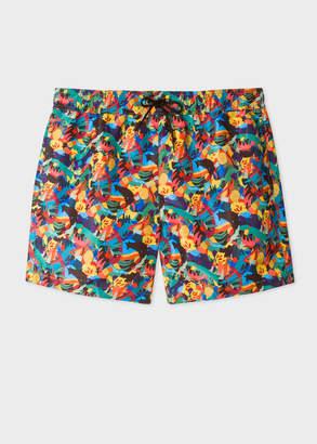 Paul Smith Men's Multi-Coloured 'Urban Fox Collage' Print Swim Shorts