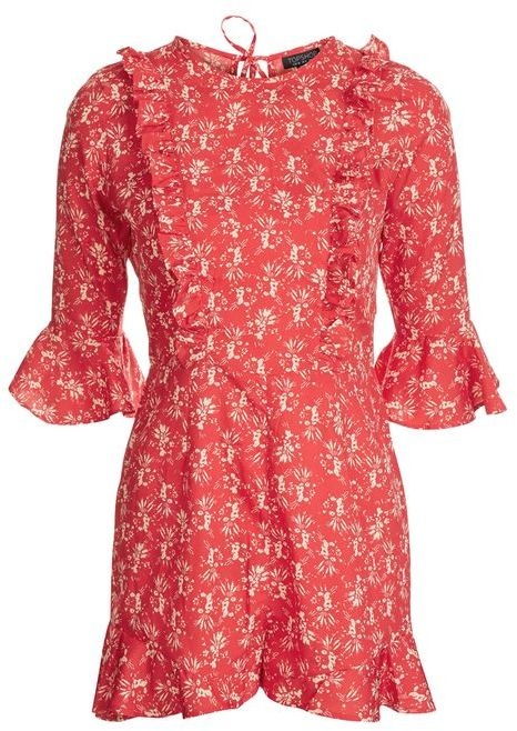 Topshop Topshop Floral print ruffle playsuit