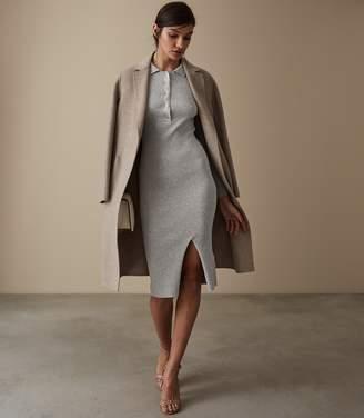 Reiss LOUISE BUTTON COLLAR KNITTED DRESS Grey Marl