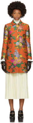 Gucci Orange Floral Jacquard Coat