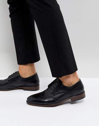 Burton Menswear Leather Brogue In Black