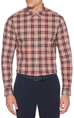 Perry Ellis Multi Colour Mini-Check Stretch Shirt