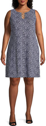 MSK Sleeveless Polka Dot Shift Dress - Plus