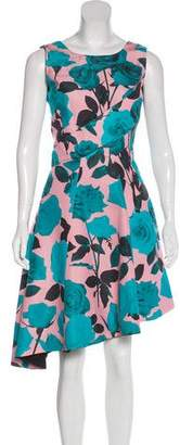 Christian Dior Silk Floral Print Knee-Length Dress