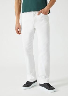 Emporio Armani Regular Fit Trousers In Stretch Cotton Gabardine