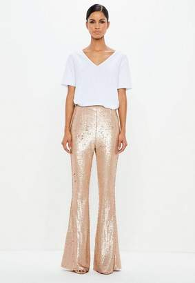 Missguided Gold Matte Sequin Flared Trousers