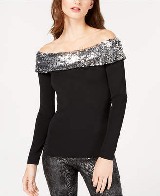INC International Concepts I.n.c. Sequined Off-The-Shoulder Sweater
