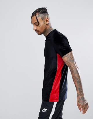 Asos DESIGN Longline T-Shirt In Velour With Contrast Side Panel