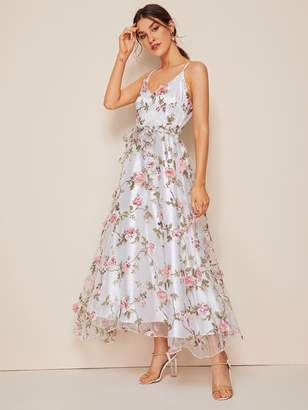 Shein Floral Print Mesh Overlay Belted Cami Dress