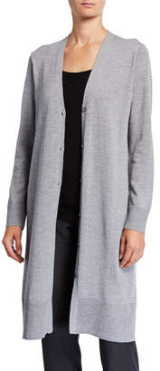 Eileen Fisher Plus Size Washable Wool Crepe V-Neck Button-Front Long Cardigan