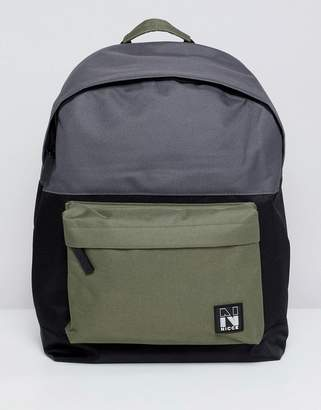 Nicce London backpack in black with contrast panels and taping
