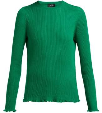 A.P.C. Ribbed Knit Merino Wool Sweater - Womens - Green