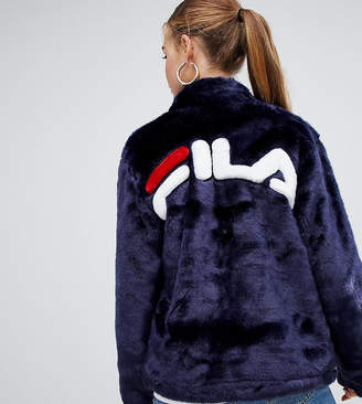 Fila Jacket With Contrast Pockets And Logo Back In Faux Fur