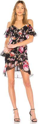 Nicholas Lucile Floral Wrap Frill Mini Dress