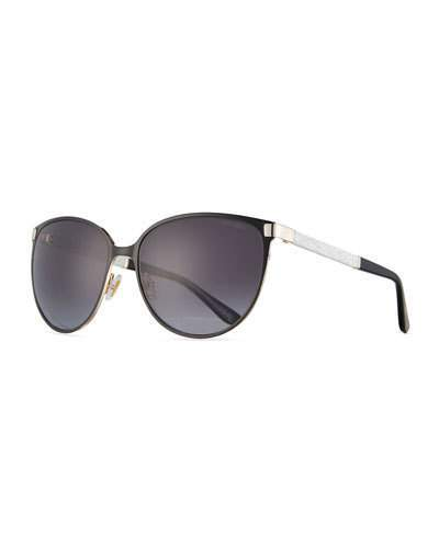 Jimmy Choo Jimmy Choo Posie Crystal-Temple Round Sunglasses, Black