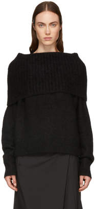 Acne Studios Black Wool and Mohair Off-the-Shoulder Sweater