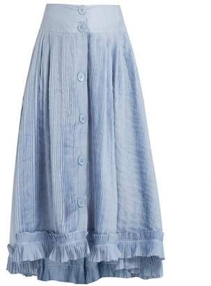 Thierry Colson Romane Pleated Cotton And Silk Blend Voile Skirt - Womens - Blue