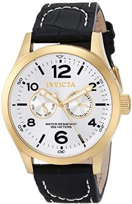 Invicta Men's 12172 Specialty Military Silver Dial Black Leather Watch