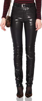 Saint Laurent Mid Rise Leather Pants in Black   FWRD