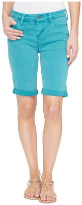 Liverpool Hayden Rolled-Cuff Bermuda in Pigment Dyed Slub Stretch Twill in Fanfare Blue Women's Shorts