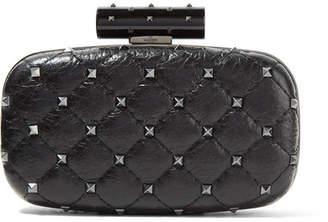Valentino Garavani The Rockstud Spike Quilted Cracked-leather Clutch - Black