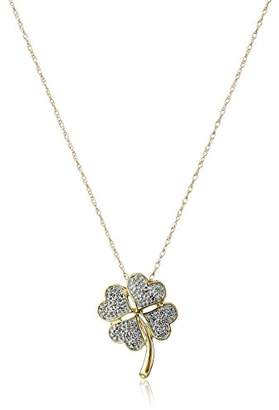 10k Yellow Gold Diamond Four Leaf Clover Pendant Necklace