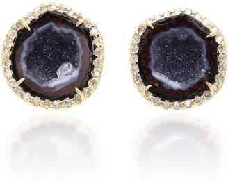 Kimberly McDonald 18K Gold Diamond and Blue Geode Earrings