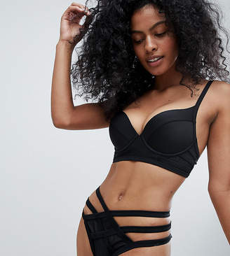 Wolfwhistle Wolf & Whistle Fuller Bust Exclusive mesh insert strappy bikini top DD - G Cup