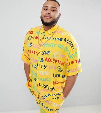 Asos Design DESIGN x glaad& Plus shirt co-ord in scribble print