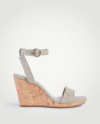 Ann Taylor Haydee Linen Wedge Sandals