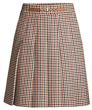 Tory Burch Women's Pleated Check Mini Skirt - Size 0