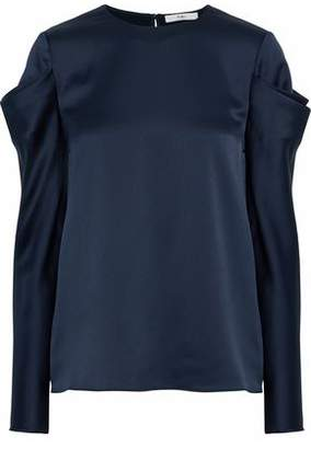 Tibi Gathered Satin Blouse