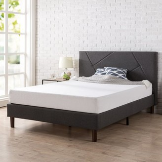 Zinus Upholstered Geometric Paneled Platform Bed with Wood Slat Support, Multiple Sizes