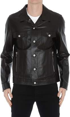 Balmain Logo Leather Jacket