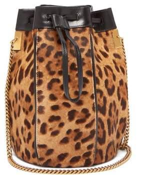 Saint Laurent Talitha Leopard Print Calf Hair Bucket Bag - Womens - Leopard