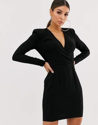 Asos Design DESIGN shoulder pad plunge wrap mini dress