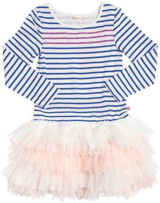 Billieblush Cotton Jersey & Stretch Tulle Dress