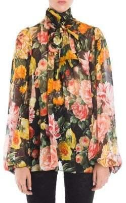 Dolce & Gabbana Floral Tie-Neck Chiffon Blouse